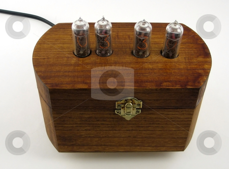 Vintage clock  stock photo, Vintage clock made with Nixie vacuum tubes using technology from the 50s by Albert Lozano