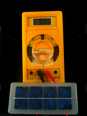 Solar cells stock photo, Solar cells generating current by Albert Lozano