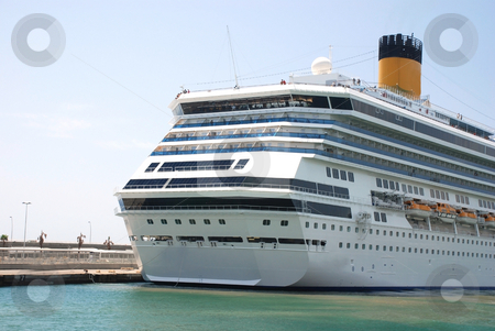 Cruise ship stock photo, Pictures of a cruise ship docked at the harbor by Albert Lozano