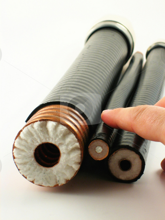 Three coaxial cables stock photo, Three coaxial cables with different size by Albert Lozano