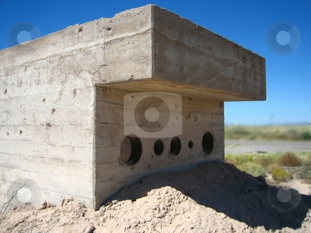 Bunkers stock photo, Bunkers and structures for protection against atomic blasts by Albert Lozano