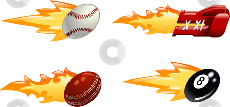 Glossy flaming sport icons stock vector clipart, A glossy shiny flaming sport icon set. Baseball ball, boxing glove, cricket ball and black pool eight ball flying fast through the air with flames and fire shooting out the back by Christos Georghiou