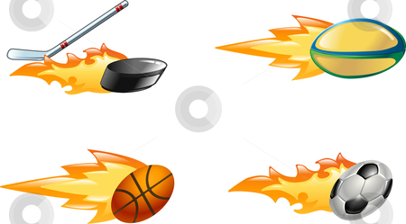 Shiny flaming sport icons stock vector clipart, A glossy shiny flaming sport icon set. Rugby ball, ice hockey stick striking puck, basketball ball and soccer or football ball zooming through the air with flames and fire zooming out the back by Christos Georghiou