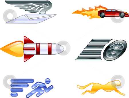 Speed Icon Set Series Design Elements  stock vector clipart, A conceptual icon set relating to speed, being fast, and or efficient. by Christos Georghiou
