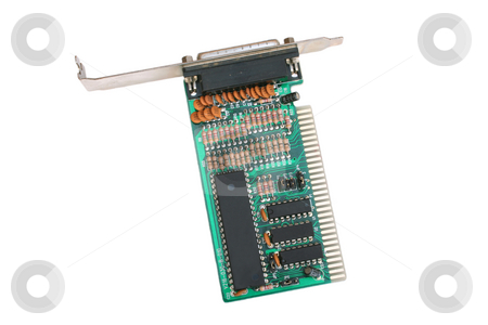 LPT2 Printer Port Circuit Board  stock photo, Showing the rows of capacitors and resistors required by Helen Shorey