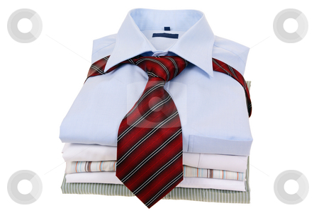 Shirts stock photo, Men's shirts tied with tie isolated on white background by Jolanta Dabrowska