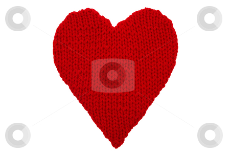 Heart stock photo, Woollen heart made on wires isolated on white background by Jolanta Dabrowska