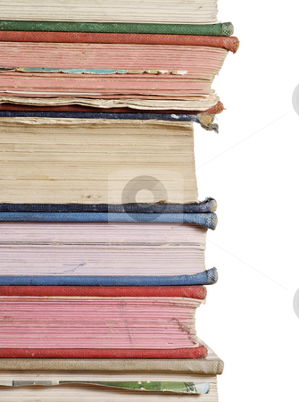 Stack of books close up stock photo, A close up stack of books isolated against white by Paul Turner