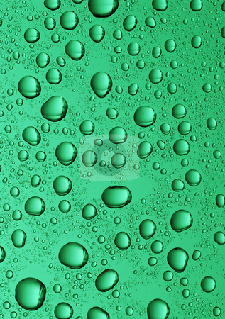 Large water drops stock photo, Large water drops on green glass background by Paul Turner