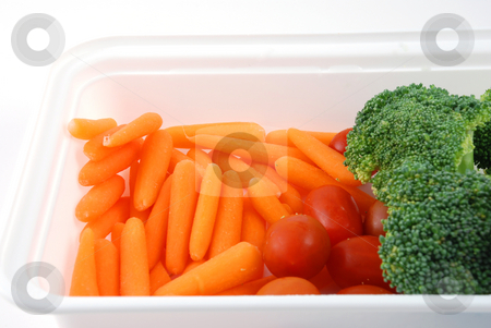 Tray of vegetables stock photo, Stock pictures of vegetables ready to be eaten in a tray by Albert Lozano