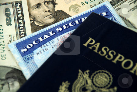 Social security and passport stock photo, Social security card, a passport and several dollar notes by Albert Lozano