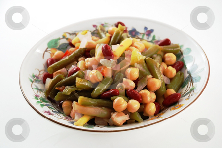 Vegetable salad stock photo, Stock picture of a bean and vegetable salad by Albert Lozano