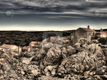 Adriatic village  stock photo, Lubenice,island Cres. Croatian village on the rocky Adriatic coast.Artistic view. by Sinisa Botas