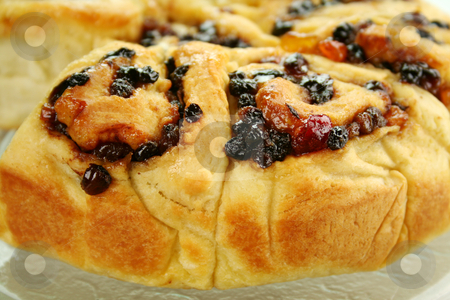 Chelsea Bun stock photo, Delicious chelsea bun with dried fruit ready to serve. by Brett Mulcahy