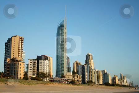Surfers Paradise Skyline stock photo, Early morning view of Surfers Paradise skyline on the Gold Coast Australia from the Southern end of the beach. by Brett Mulcahy