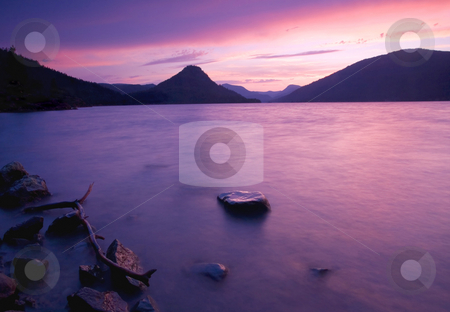 Rimrock Sunset stock photo, A colorful sunset over the waters of Rimrock Lake by Mike Dawson