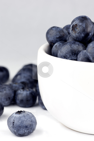 Blueberries in a bowl stock photo, Fresh washed blueberries in a white bowl by Paul Turner