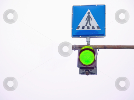 Go light at a pedestrian crossing stock photo, Go light showing green at a pedestrian  crossing by Phillip Dyhr Hobbs