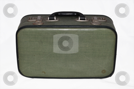 Suitcase stock photo, Isolated worn  retro suitcase on white backround by Nils Volkmer