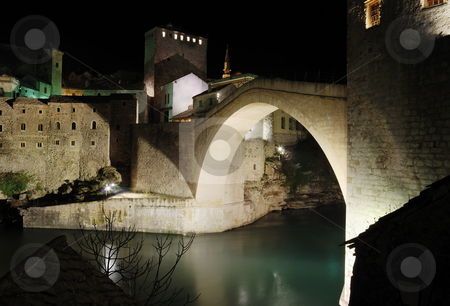 Old Bridge by night stock photo, Famous Old Bridge in Mostar by night. by Ivan Paunovic