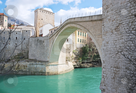 Famous Old Bridge in Mostar stock photo, Famous Old Bridge in Mostar on a sunny winter day. by Ivan Paunovic