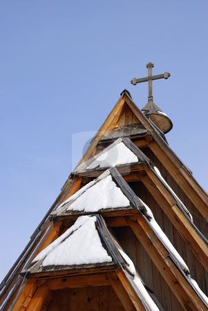 Roof of church stock photo, Roof of an orthodox in church in Mecavnik with sky in background. by Ivan Paunovic