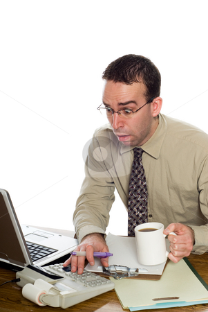 Stressed Accountant stock photo, An accountant shocked at his recently found numbers, isolated against a white background by Richard Nelson