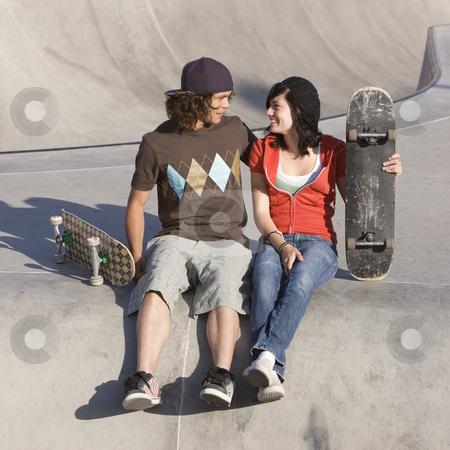 Kids at skatepark stock photo, Kids at skatepark by Rick Becker-Leckrone