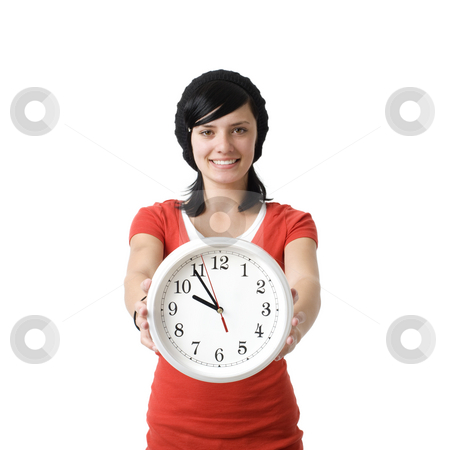Smiling girl with clock stock photo, Girl with clock smiles by Rick Becker-Leckrone