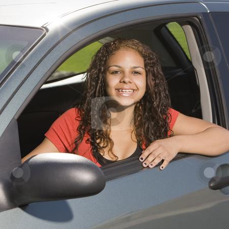 Happy teen in car stock photo, Happy teen in car by Rick Becker-Leckrone