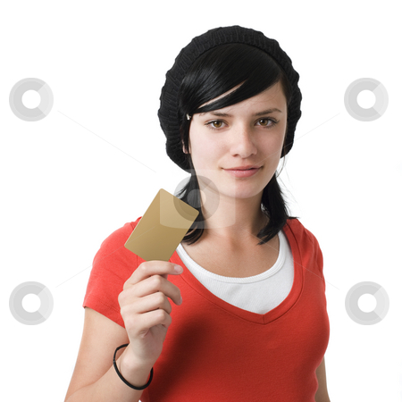 Girl with credit card stock photo, Girl with credit card by Rick Becker-Leckrone