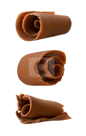 Chocolate Curls stock photo, Chocolate Curls isolated on a white background by Danny Smythe