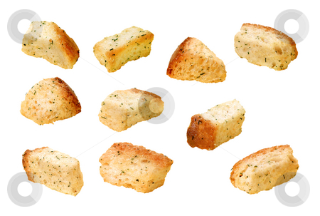 Croutons stock photo, Croutons isolated on a white background by Danny Smythe