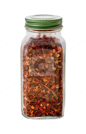 Crushed Red Pepper Bottle stock photo, Crushed Red Pepper Bottle on white with clipping path by Danny Smythe