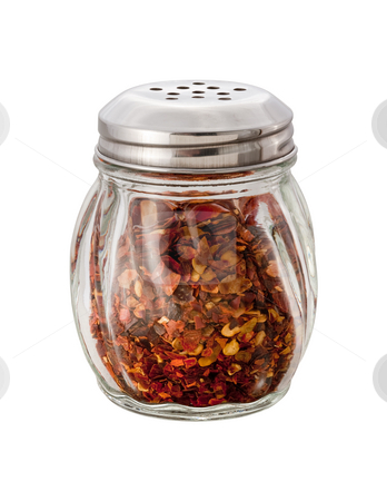 Crushed Red Pepper Shaker stock photo, Crushed Red Pepper Shaker on white with clipping path by Danny Smythe