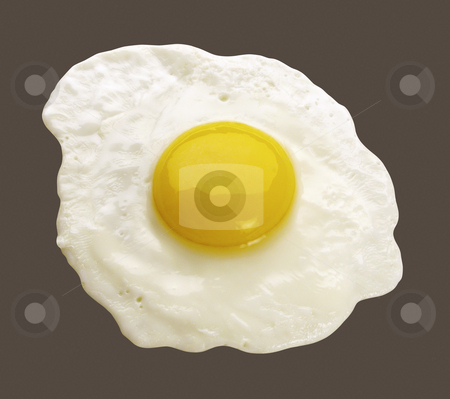 Cooked Egg stock photo, Cooked Egg isolated on a dark background by Danny Smythe