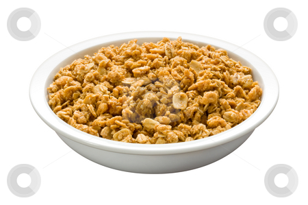 Granola in a Bowl stock photo, Granola in a Bowl isolated on a white background by Danny Smythe