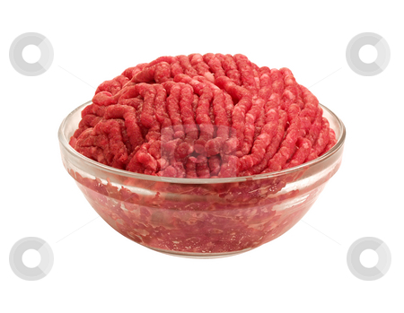 Raw Hamburger stock photo, Raw Hamburger in a bowl on a white background by Danny Smythe