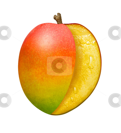 Mango Slice stock photo, Mango Slice isolated on a white background by Danny Smythe