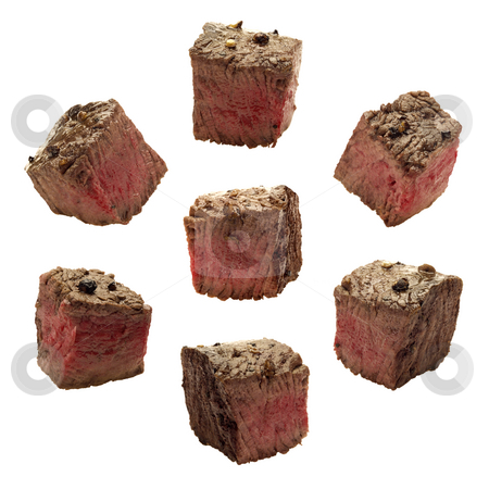 Meat Chunks stock photo, Meat Chunks isolated on a white background by Danny Smythe