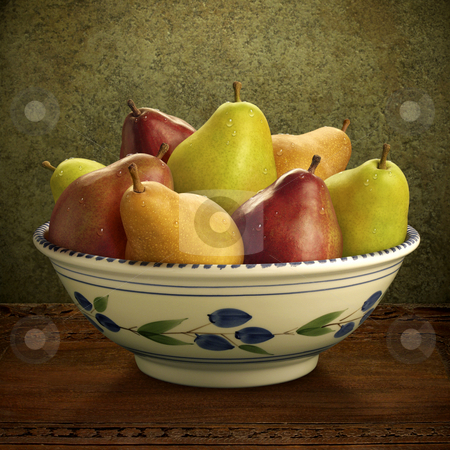 Bowl of Mixed Pears stock photo, Bowl of Mixed Pears on brown table by Danny Smythe