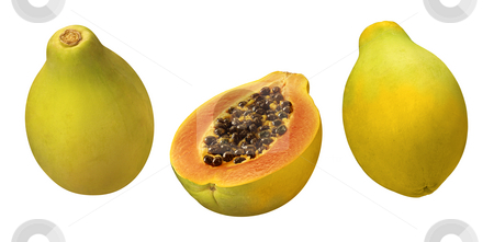 Papayas stock photo, Papayas isolated on a white background by Danny Smythe