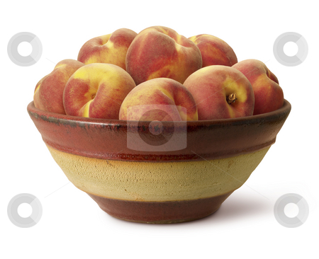 Bowl of Peaches stock photo, Bowl of Peaches isolated on a white background by Danny Smythe