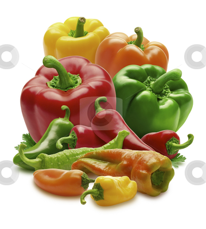 Group of Peppers stock photo, Group of Peppers isolated on a white background by Danny Smythe