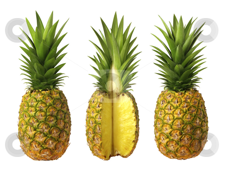 Pineapples stock photo, Pineapples isolated on a white background by Danny Smythe