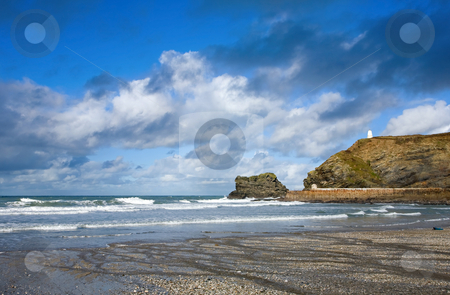 Atlantic clouds over Portreath pier and the Pepperpot, Cornwall UK stock photo, Atlantic clouds over Portreath pier and the Pepperpot, Cornwall UK by Stephen Rees