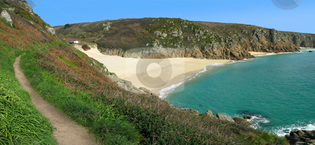 Panoramic view of the coast path to Porthcurno beach, Cornwall UK. stock photo, Panoramic view of the coast path to Porthcurno beach, Cornwall UK. by Stephen Rees