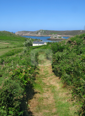 A footpath in Bryher, Isles of Scilly, Cornwall UK stock photo, A footpath in Bryher, Isles of Scilly, Cornwall UK by Stephen Rees