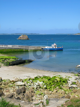 An inter-island boat at St. Agnes quay, Isles of Scilly, Cornwall UK. stock photo, An inter-island boat at St. Agnes quay, Isles of Scilly, Cornwall UK. by Stephen Rees