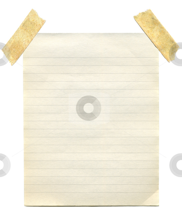 Old vintage yellowing notepaper stuck to a white background. stock photo, Old vintage yellowing notepaper stuck to a white background. by Stephen Rees
